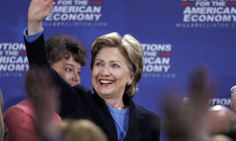 Hillary Clinton waves during a campaign stop at the University of Pittsburgh. Photograph: Keith Srakocic/AP