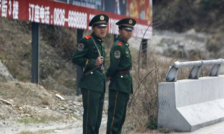 Two PLA soldiers in Kangding, Sichuan province