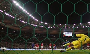 France's Franck Ribery scores against England.