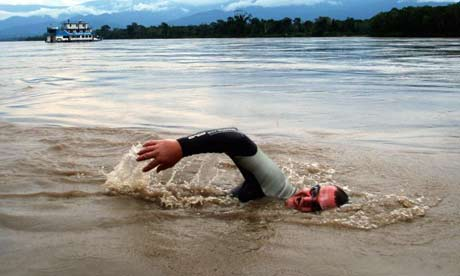 In this photo released by Amazon Swim, Slovenian Martin Strel, 52, swims in the Brazilian section of the Amazon river. Photograph: Amazon Swim/AP