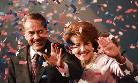 Bob Dole and wife Elizabeth at Republican National Convention in San Diego 1996, after accepting the Republican presidential nomination