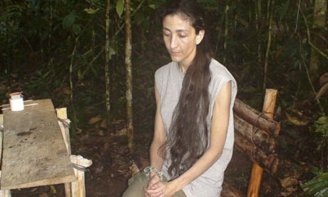 Colombia's former presidential candidate Ingrid Betancourt in an unknown location