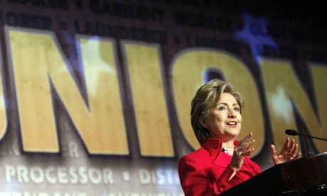 Hillary Clinton addresses the Pennsylvania AFL-CIO meeting in Philadelphia. Photograph: Charles Dharapak/AP