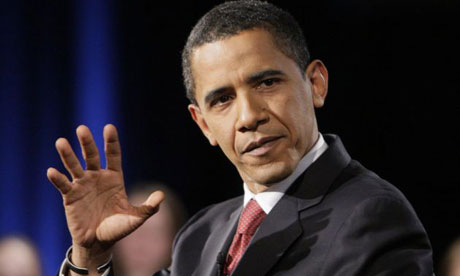 Barack Obama gestures during an appearance at West Chester University in Pennsylvania. Photograph: Alex Brandon/AP