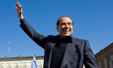 Former Italian Premier and leader of the center-right coalition Silvio Berlusconi