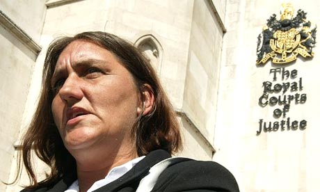 Rose Gentle, whose son Gordon was killed in Iraq, outside the high court in London