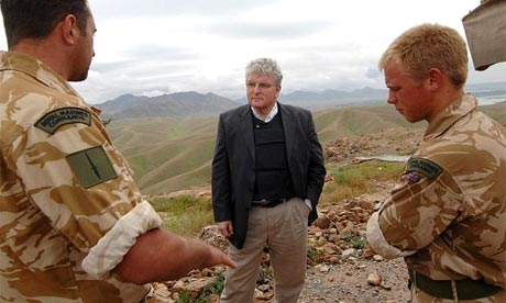 Defence secretary Des Browne speaks to troops at a dam reconstruction site in Helmand province, Afghanistan