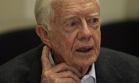 Former US president Jimmy Carter during his visit to the Barzilai hospital ...