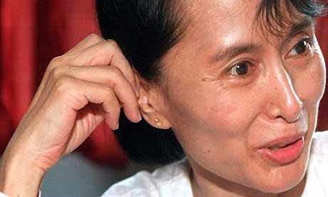 The detained Burmese opposition leader, Aung San Suu Kyi. Photograph: Pornchai Kittiwongsakul/EPA