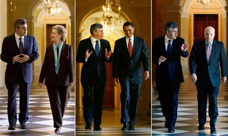 Composite image of Gordon Brown meeting Hillary Clinton, Barack Obama and John McCain
