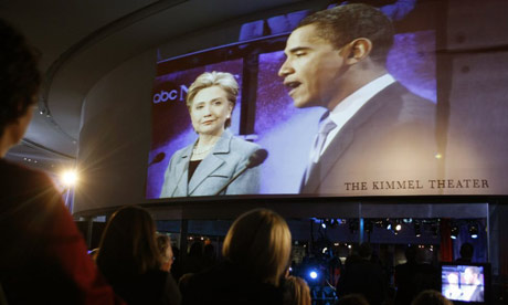 An inhouse audience watches the Philadelphia Democratic primary debate between presidential hopefuls Hillary Clinton and Barack Obama