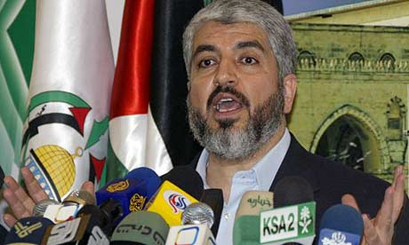 The exiled Hamas leader, Khaled Meshaal, speaks at a press conference in Damascus