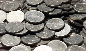 A pile of 10p coins