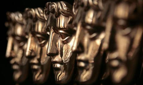 A row of Bafta awards