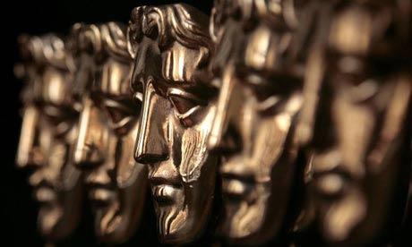 A row of Bafta awards