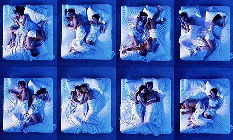 The movements of a sleeping couple, as posed by models