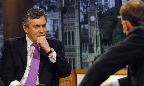 Gordon Brown takes part in an interview on the BBC One Andrew Marr Show