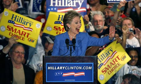 Hillary Clinton addresses supporters in Indiana. Photograph: Jeff Haynes/Reuters
