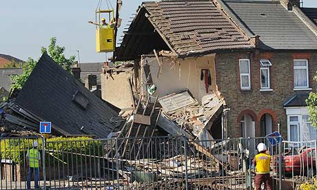 The scene of the explosion in South Harrow, London.