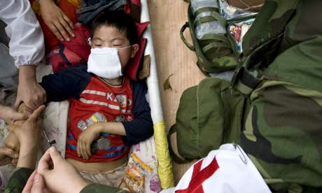 Eight year old China earthquake survivor