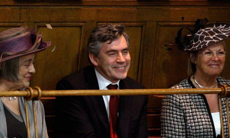 Gordon Brown waits to addresses the General Assembly of the Church of Scotland