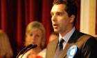 Newly elected Conservative MP Edward Timpson and defeated Labour candidate Tamsin Dunwoody