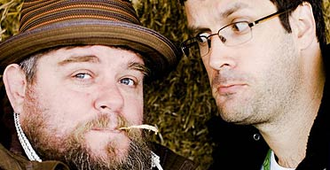 Comedians Andre Vincent (L) and Marcus Brigstocke at The Guardian Hay festival 2008