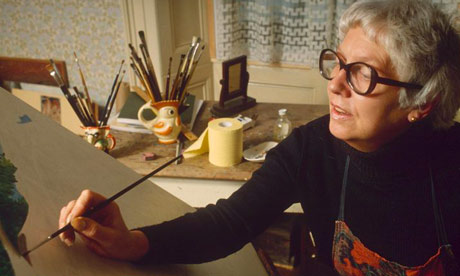Beryl Cook painting at home