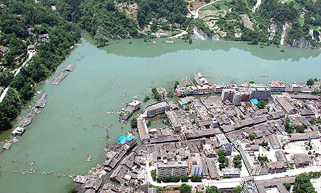 Aerial view of the town of Yuli, in Sichuan province, partially submerged by the swollen Tangjiashan lake, created by the earthquake.