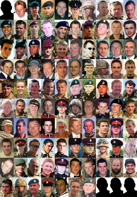 Composite image of the 100 British military personnel killed during the conflict in Afghanistan