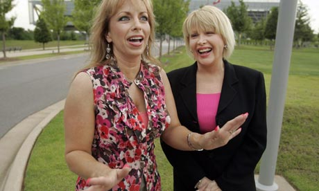 Paula Jones and Gennifer Flowers are interviewed in front of the Clinton Presidential Library in Little Rock, Arkansas
