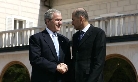 The US president, George Bush, is greeted by the Slovenian prime minister, Janez Jansa, at Brdo castle