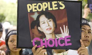 A Myanmar activist at a march in New Delhi to mark Aung San Suu Kyi's 63rd birthday