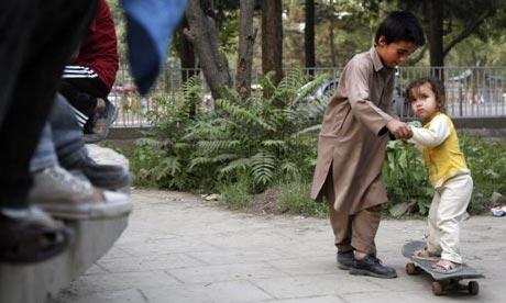 Children skateboarding in afghanistan