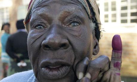 Zimbabwe voter with dyed finger