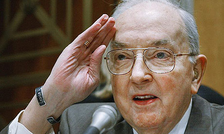 Senator Jesse Helms salutes during a Senate foreign relations committee meeting in February 2002.