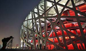 The national stadium, also known as the Bird's Nest, in Beijing, China