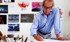 Cartoonist Gerald Scarfe in his studio at his home