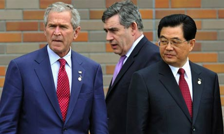 G8 leaders including George Bush, Gordon Brown and Hu Jintao of China are divided on Zimbabwe