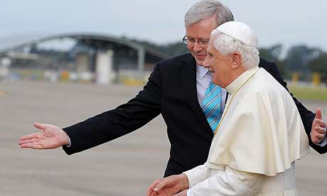 The Australian prime minister, Kevin Rudd, greets Pope Benedict XVI  at the Richmond airbase in Sydney