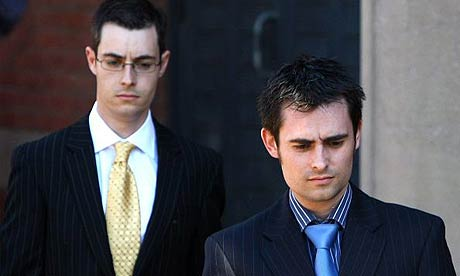Mark (right) and Anthony Darwin leave Teesside Crown Court after giving evidence against their mother Anne Darwin
