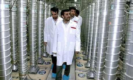 Iranian President Mahmoud Ahmadinejad inspecting the Natanz nuclear plant in central Iran