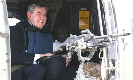 Gordon Brown arrives in Iraq in a Super Puma helicopter
