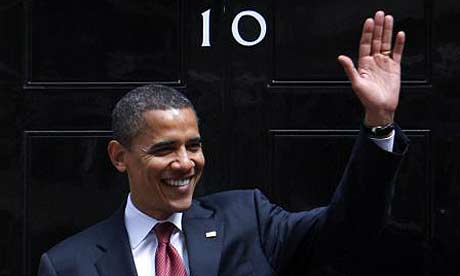Barack Obama outside 10 Downing Street