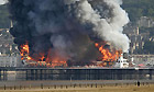 The Grand Pier at Weston Super Mare is completely engulfed by fire