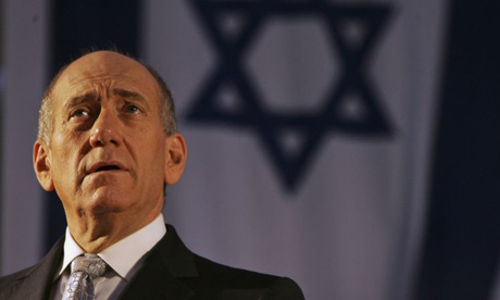 Israeli Prime Minister Ehud Olmert makes a speech