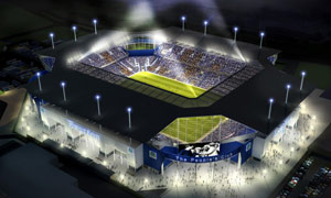 Computer generated image of Everton's proposed news 50,000-seater stadium in Kirkby