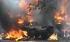 A tank burns in South Ossetia