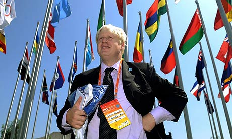 The London mayor Boris Johnson visits the athletes' village in Beijing where he is attending the last few days of the 2008 Olympic Games, and participating in the London handover during the closing ceremony