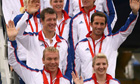 Members of Team GB wave to fans after returning from Beijing